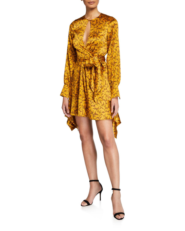 Jonathan Simkhai Dresses HAMMERED SILK KEYHOLE TIE-FRONT DRESS