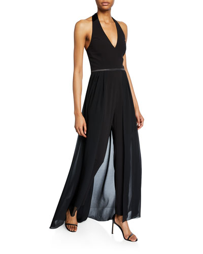 Halter-Neck Crepe Jumpsuit with Georgette Skirt Overlay