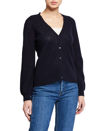 Cashmere Cardigan with Puffy Sleeves