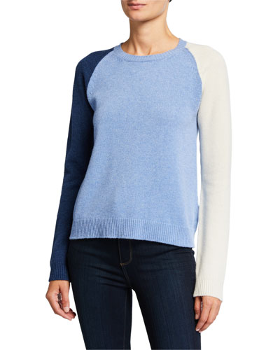 Tricolor Crewneck Long-Sleeve Cashmere/Wool Sweater