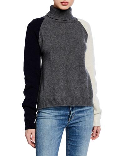 Tricolor Long-Sleeve Turtleneck Sweater