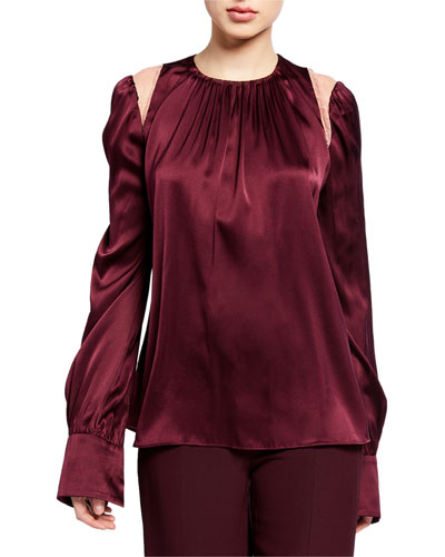 Silk Crewneck Long-Sleeve Blouse with Lace Insets