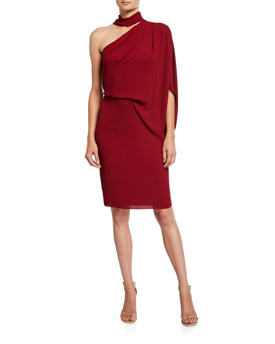 One-Shoulder Wrap-Neck Asymmetric Draped Dress