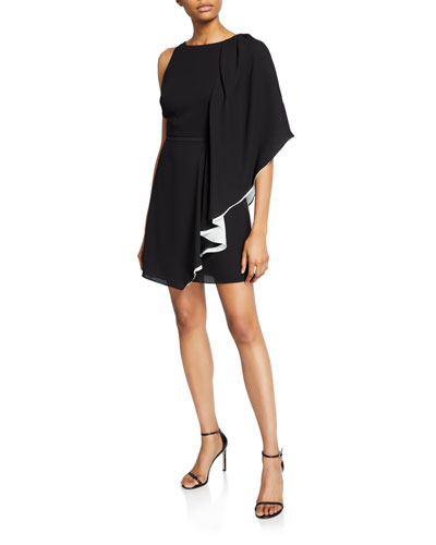 Asymmetric Draped-Sleeve Flowy Dress
