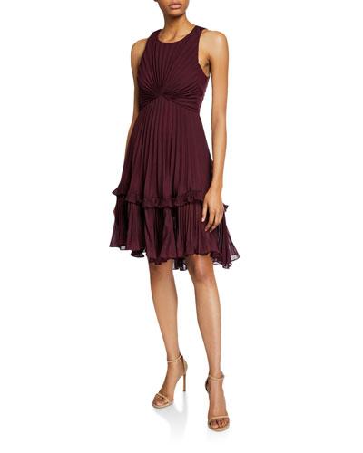 Syrah Sleeveless Pleated Dress with Flounce Detail