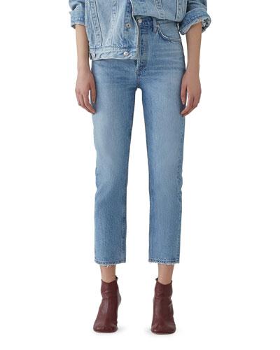Riley Crop High-Rise Straight Organic Denim Jeans