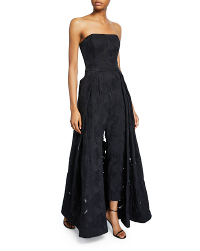 Strapless Jacquard Jumpsuit with Skirt Overlay