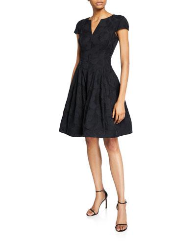 Cap-Sleeve Notch-Neck Jacquard Dress