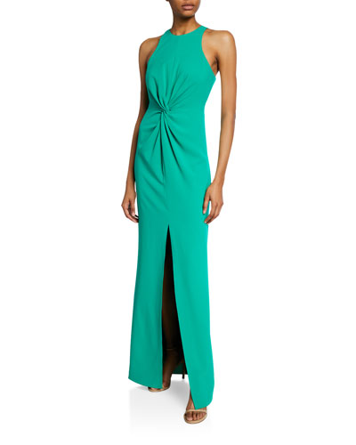 Sleeveless Crepe Gown with Twist Drape Detail