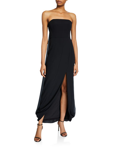 Strapless Draped-Back High-Low Georgette Gown