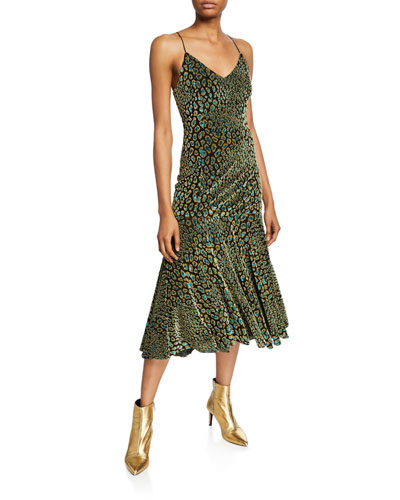 Kai Printed Velvet Slip Dress