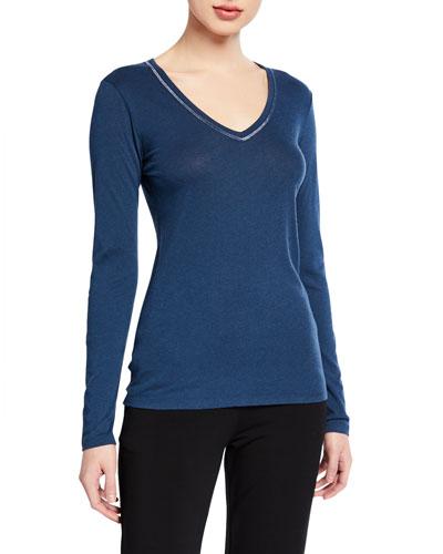 V-Neck Long-Sleeve Top with Metallic Trim