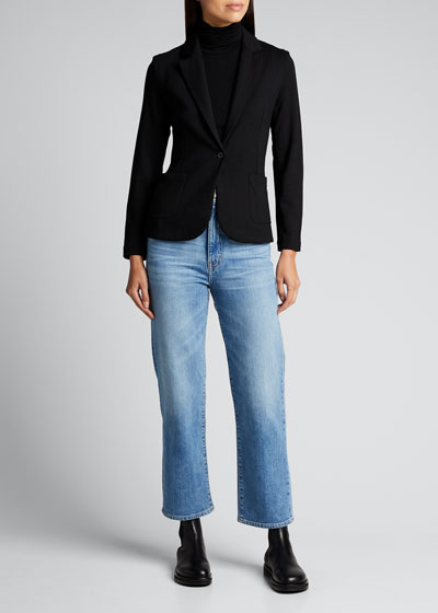 French Terry One-Button Blazer