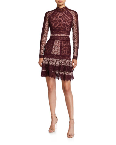 Scarf-Print Embroidered Ruffle Mini Dress