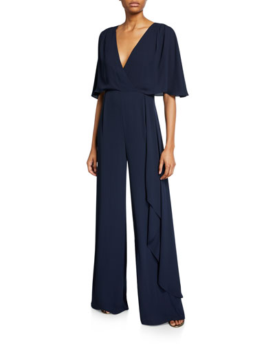 V-Neck Flowy-Sleeve Georgette Jumpsuit w/ Asymmetric Drape