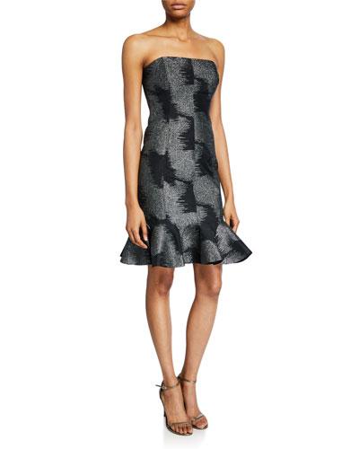Metallic Abstract Jacquard Strapless Dress