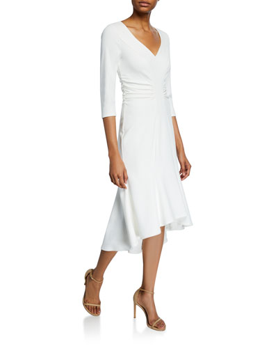 Wide V-Neck Ruched Waist High-Low Crepe Dress