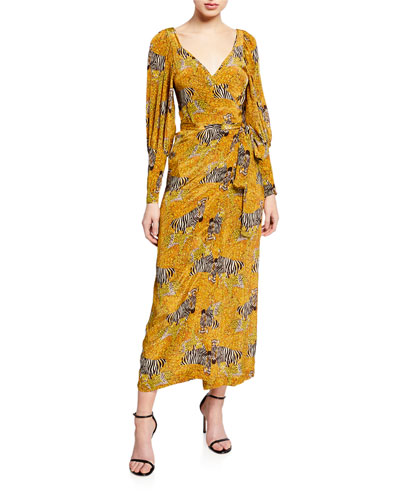 Aspen Animal-Print Long-Sleeve Wrap Dress