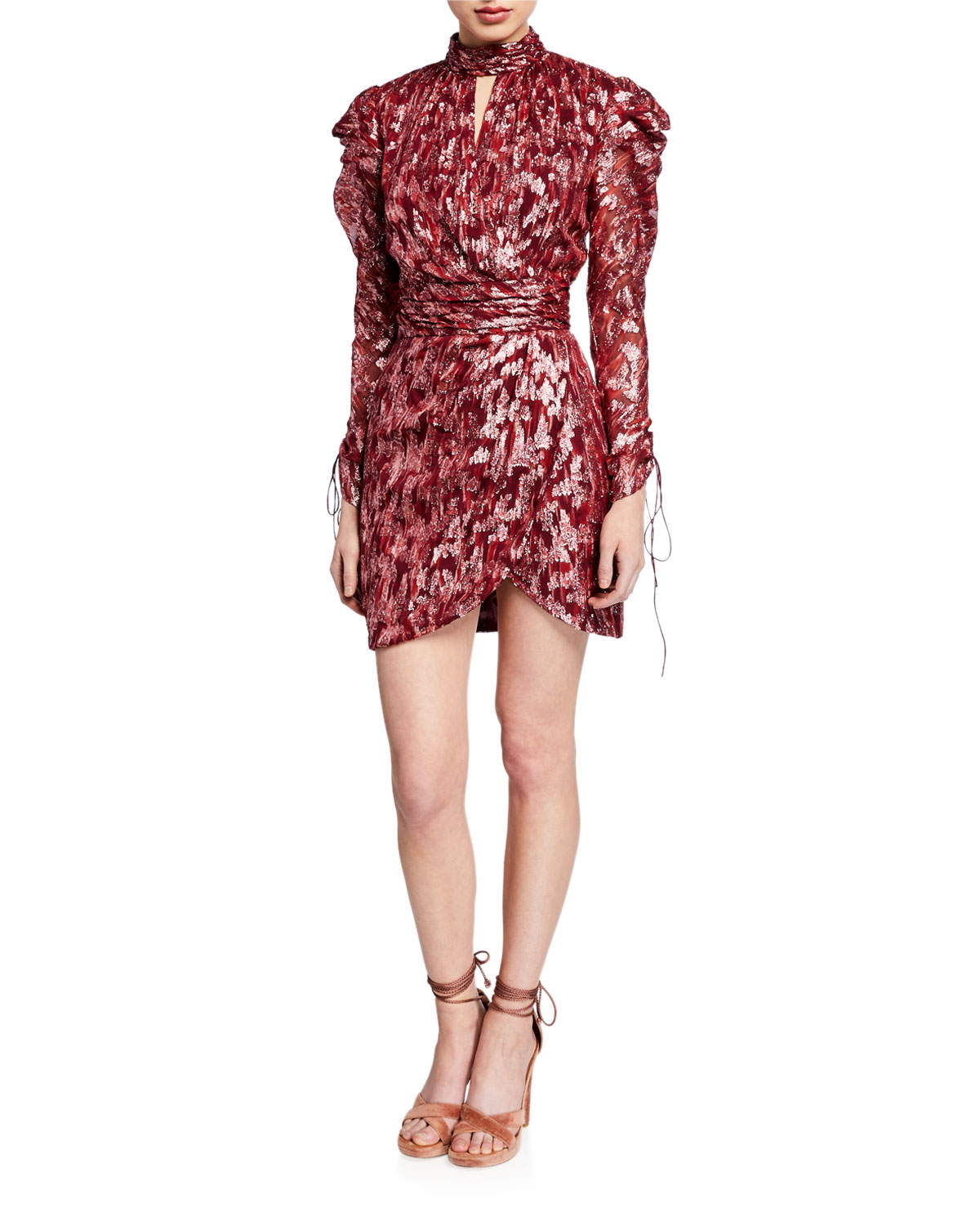Jonathan Simkhai Dresses METALLIC VINE JACQUARD MOCK-NECK WRAP DRESS