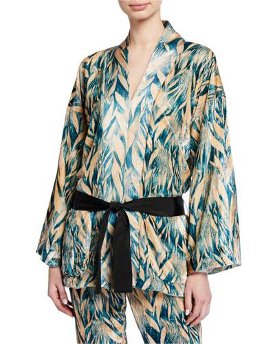 Printed Velvet Belted Jacket