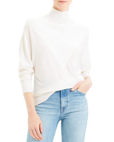 V Intarsia Regal Wool Turtleneck Sweater