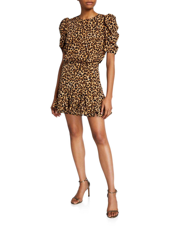 Veronica Beard Dresses LILA PUFF-SLEEVE LEOPARD-PRINT FLOUNCE DRESS