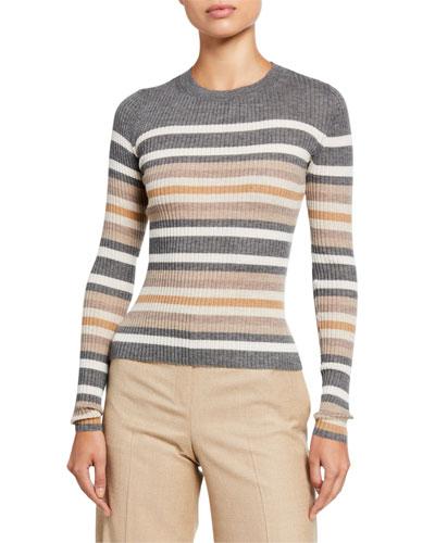 Regal Cashmere Striped Crewneck Sweater