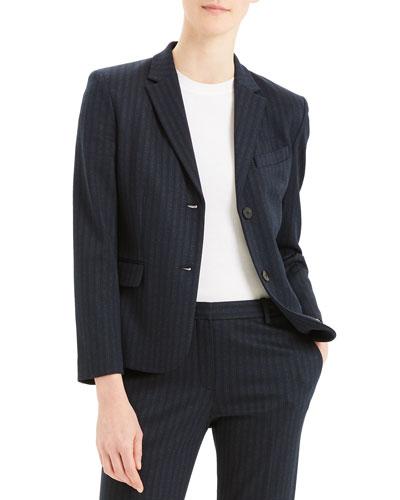 Shrunken Pale Stripe Knit Jacket