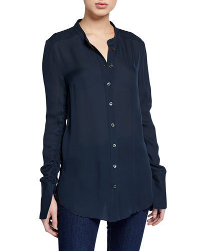 Nye Ruched-Sleeve Silk Tunic