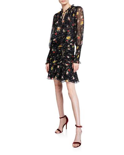 Armeria Floral-Print Ruched Short Dress