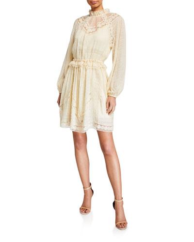 Sabotage Lace Yoke Long-Sleeve Mini Dress