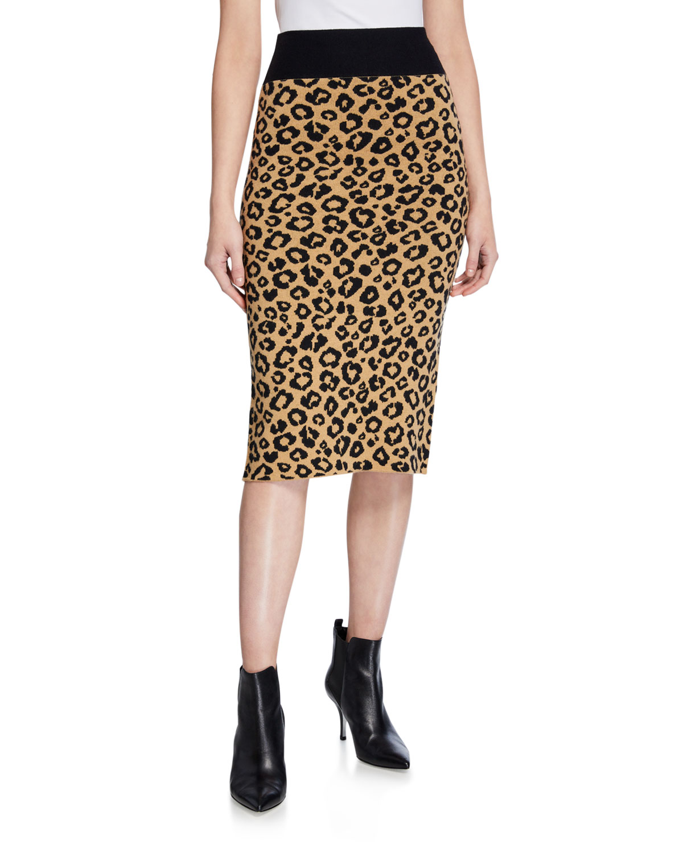 Veronica Beard Skirts BETHEL LEOPARD-PRINT WOOL PENCIL SKIRT