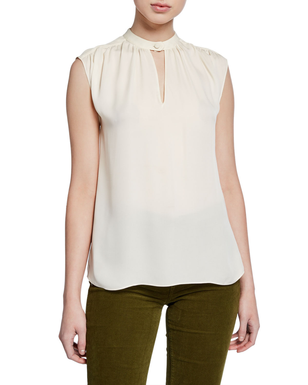 Veronica Beard Tops KALLE SLEEVELESS SILK KEYHOLE TOP