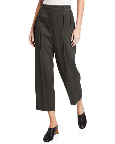 Sleek Twill Cropped Trousers