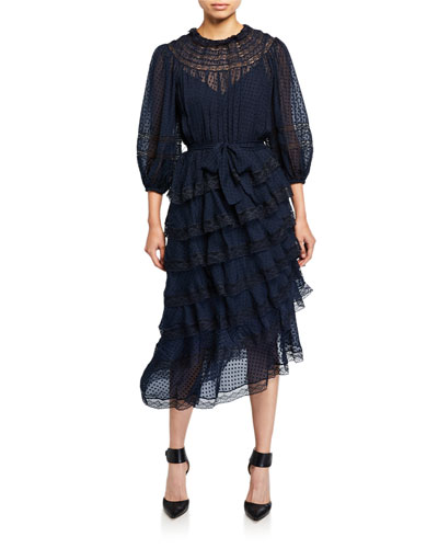 Sabotage Tiered Lace Midi Dress