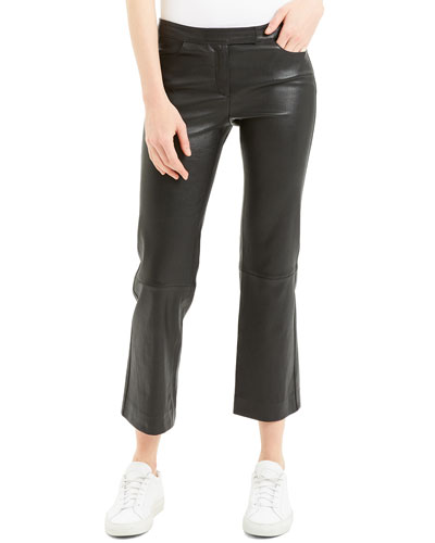 Cropped Leather Boot-Cut Pants