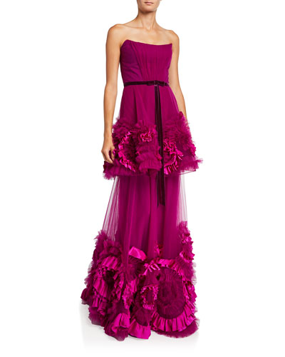Strapless Mixed Media Textured Tiered Gown w/ Corseted Bodice