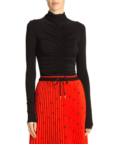 Open-Back Fitted Ruched Turtleneck Top