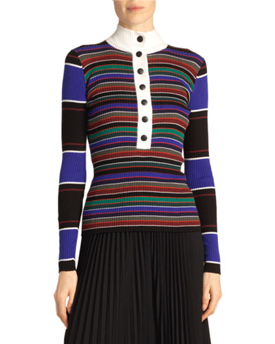 Rugby Stripe Turtleneck Sweater