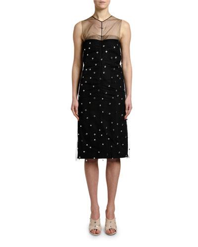 Embellished Sleeveless Ruched Cocktail Dress