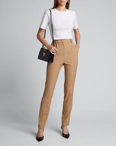 High-Rise Straight Ankle Pants