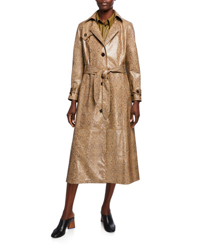 Chiara Vegan Leather Snake-Print Trench Coat