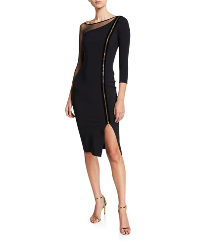 3/4-Sleeve Asymmetric Zip-Front Cocktail Dress w/ Mesh Inset