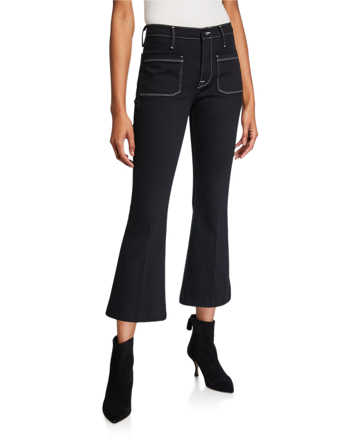 Frame Jeans BARDOT CROP FLARE JEANS W/ CONTRAST STITCHING