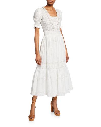 Ayla Lace-Trim Cotton Long Dress