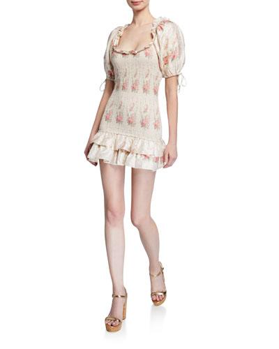 Violet Smocked Puff-Sleeve Mini Dress