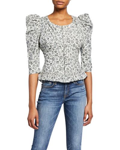 Brenna Floral Puff-Sleeve Jacket