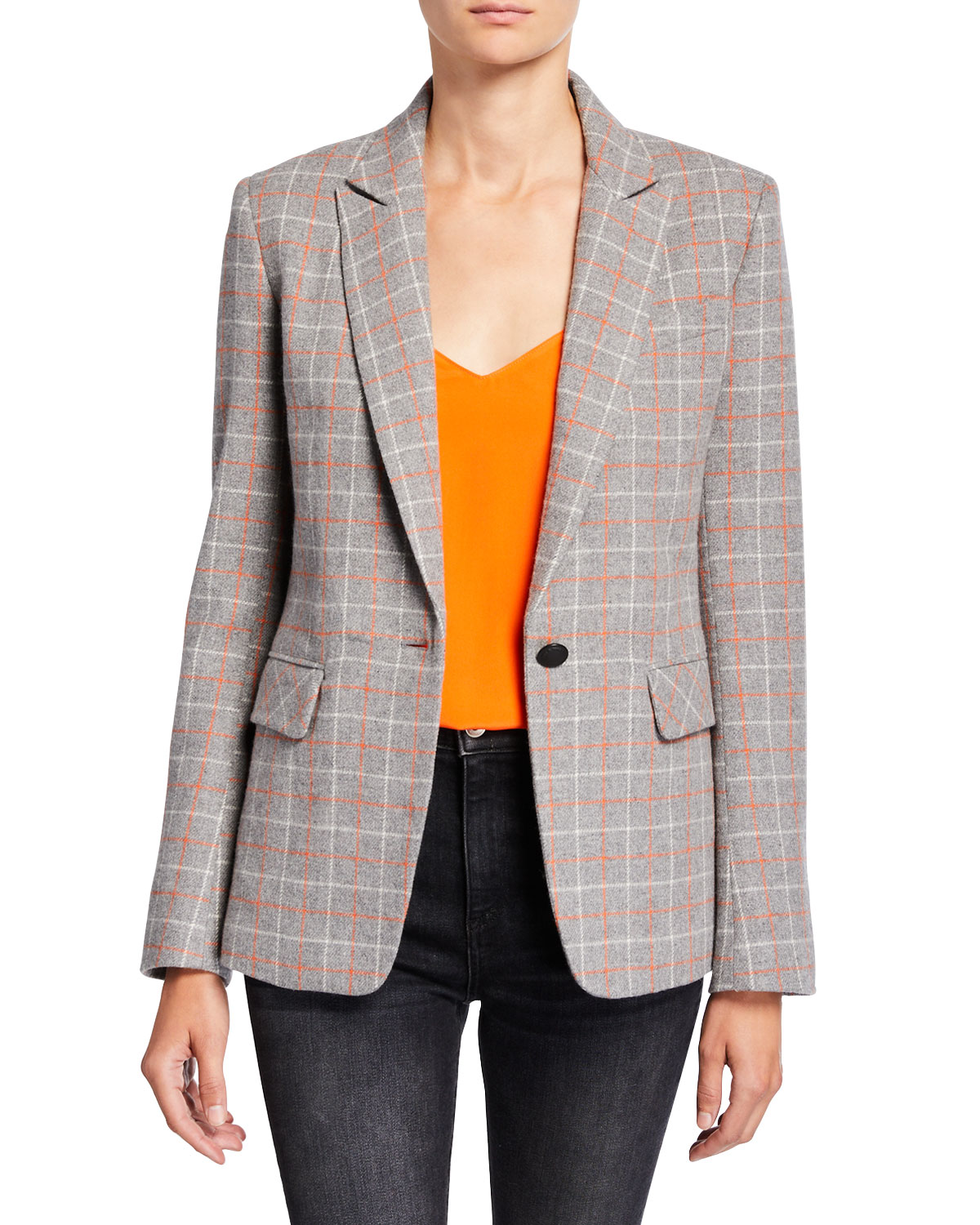 Rag & Bone  RYLIE CHECK ONE-BUTTON WOOL BLAZER