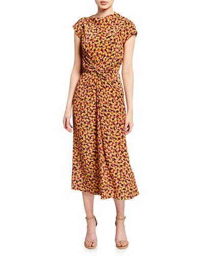 Demi Printed Twist-Front Midi Dress