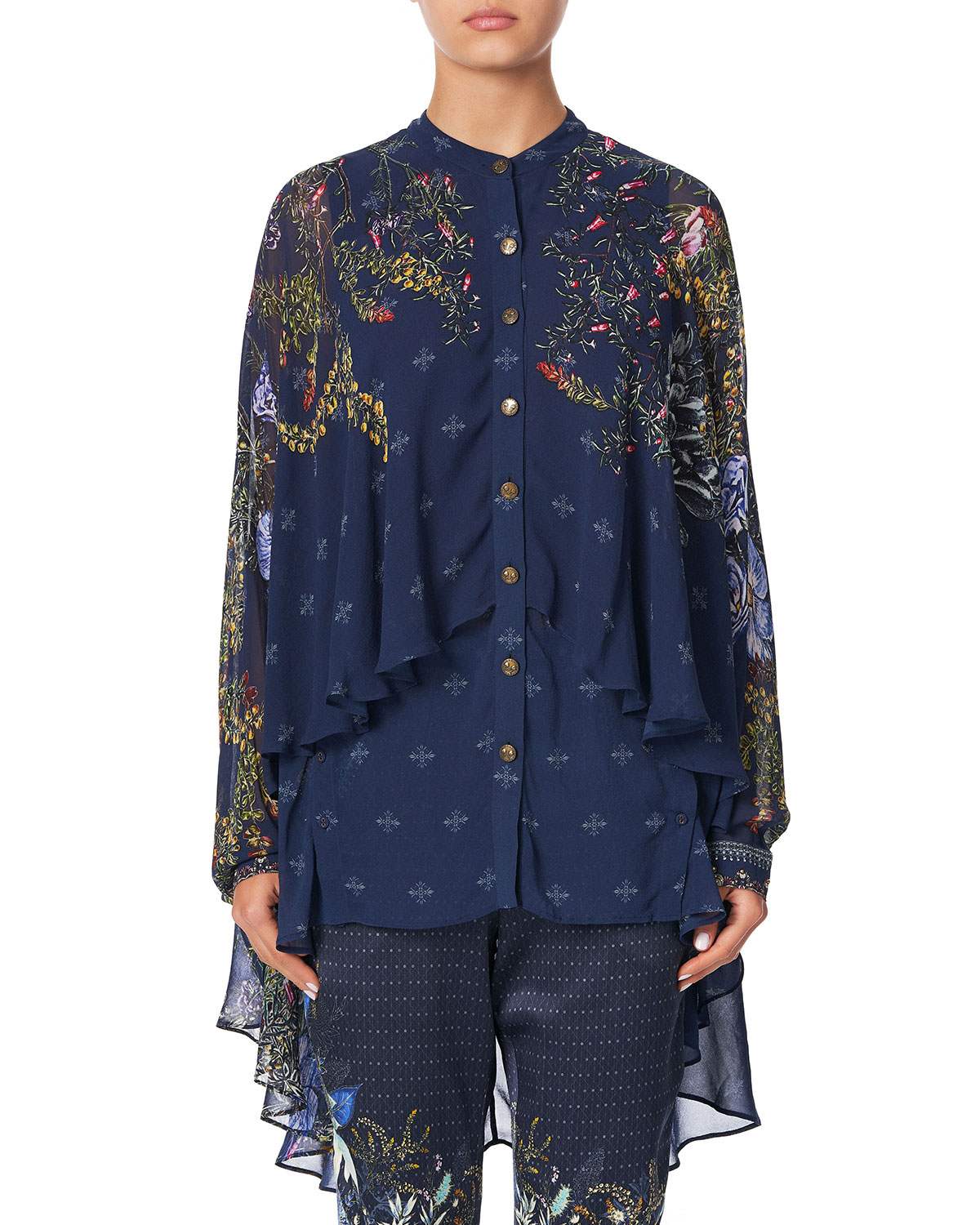 Camilla Tops DRAPED BUTTON-FRONT LONG-SLEEVE SILK BLOUSE